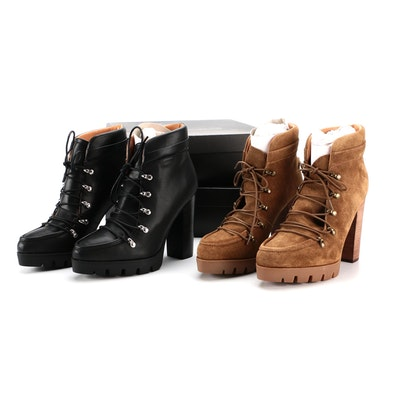 Report Signature Poe Platform Booties in Tan Suede and Black Leather with Boxes