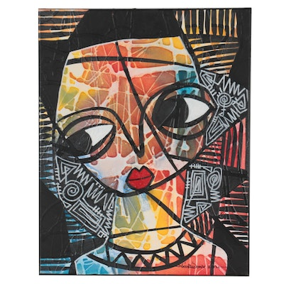 """Abiola Idowu Abstract Portrait Mixed Media Painting """"Giant Steps,"""" 2021"""