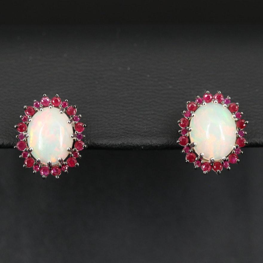 Sterling Opal and Ruby Earrings