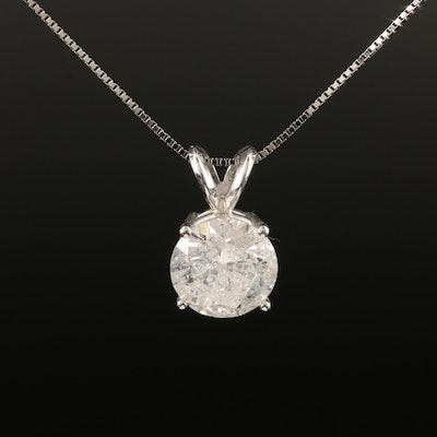14K 1.59 CTW Diamond Solitaire Necklace