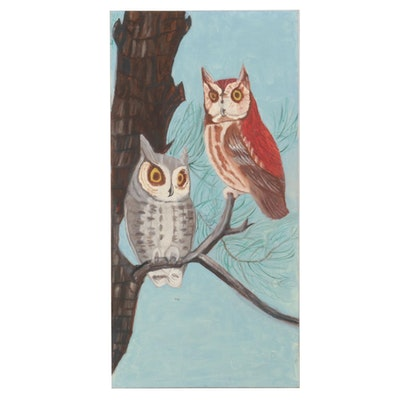 Oil Painting of Perched Owls, Mid-Late 20th Century