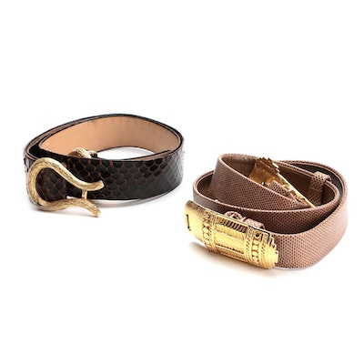Dotty Smith Karung Skin and Other Snakeskin Belt with Gold Tone Buckles