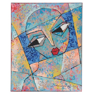"""Abiola Idowu Abstract Portrait Mixed Media Painting """"Wisdom is Everything II"""""""