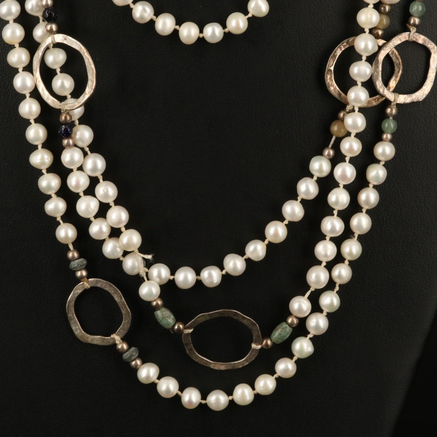 Sterling Pearl Station Necklace with Aventurine and Glass