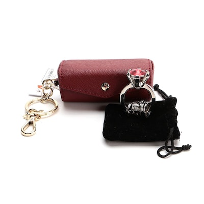 Kate Spade Saffiano Contact Case with Other Ring Motif Key Chain