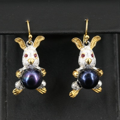Sterling Pearl and Rhodolite Garnet Bunny Earrings