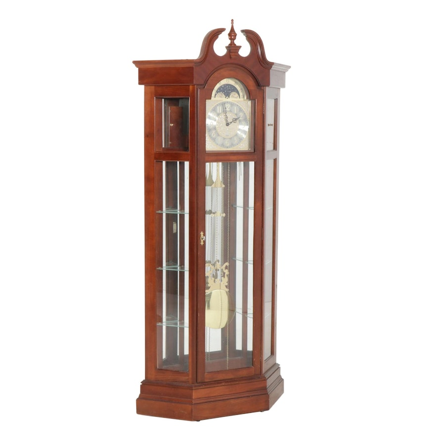 Ridgeway Federal Style Grandfather Clock with Display Shelves, Late 20th Century