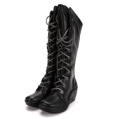 Bionica Culture Lace-Up Black Leather Platform Wedge Boots with Box