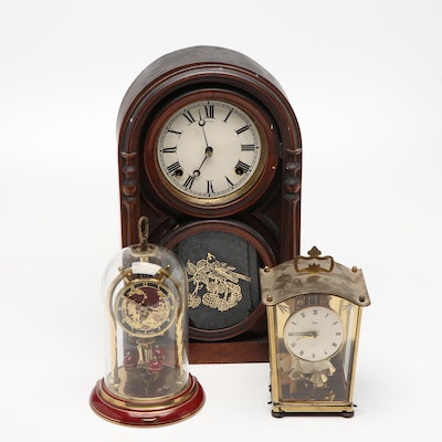 Schatz Anniversary and Mantel Clocks with Other Wood Cased Mantel Clock