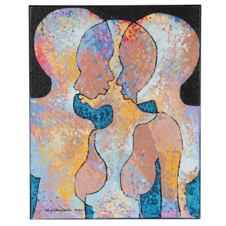 """Abiola Idowu Abstract Figural Mixed Media Painting """"Wisdom is Everything,"""" 2021"""