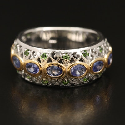Sterling Silver Tanzanite and Diopside Ring