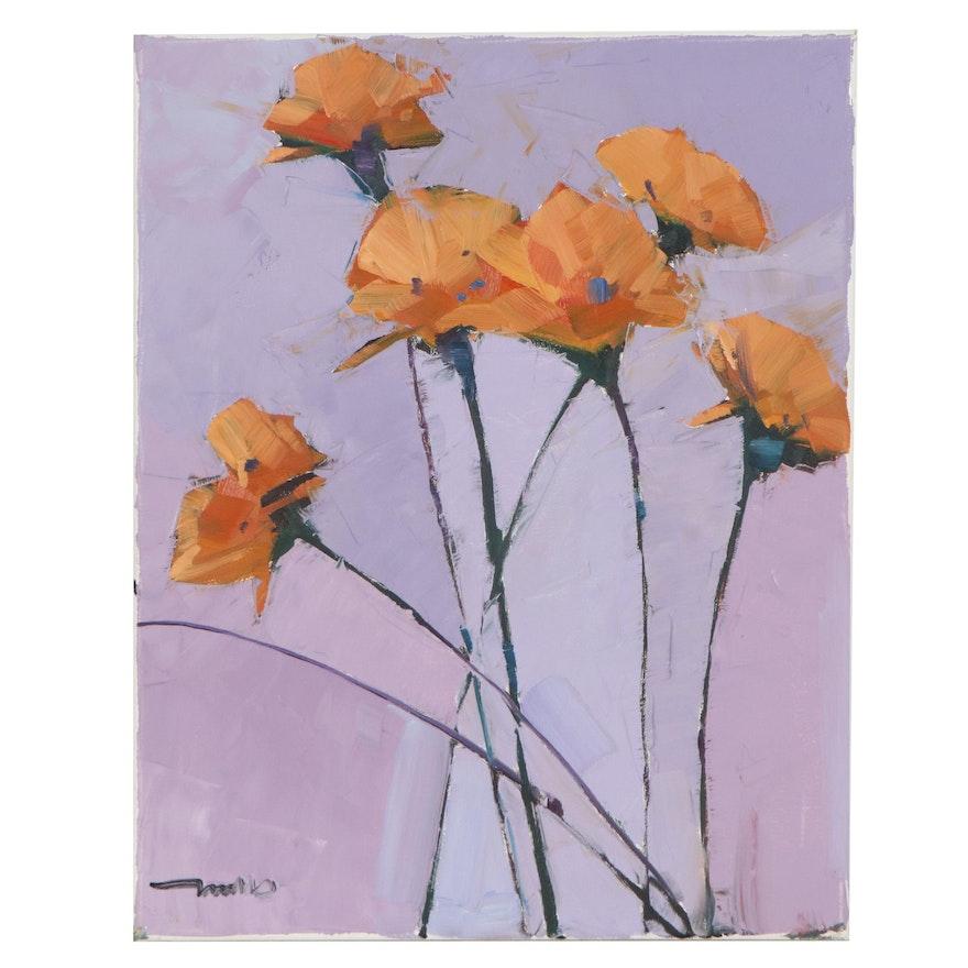 "Jose Trujillo Oil Painting ""Orange Flowers,"" 2021"