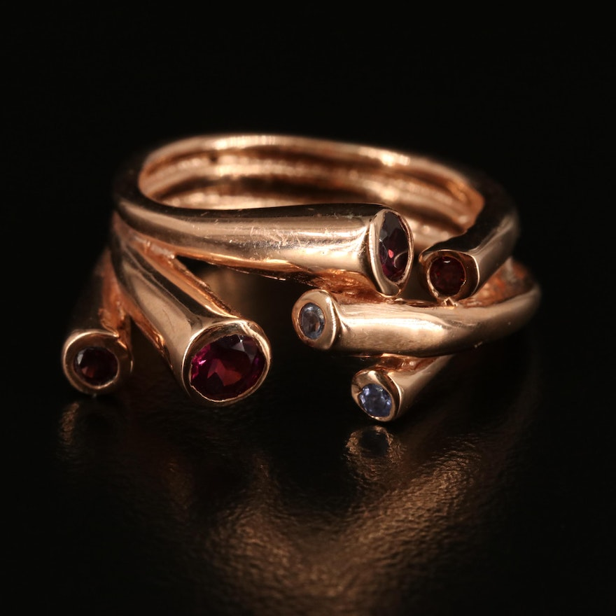 Contemporary Sterling Garnet and Tanzanite Ring