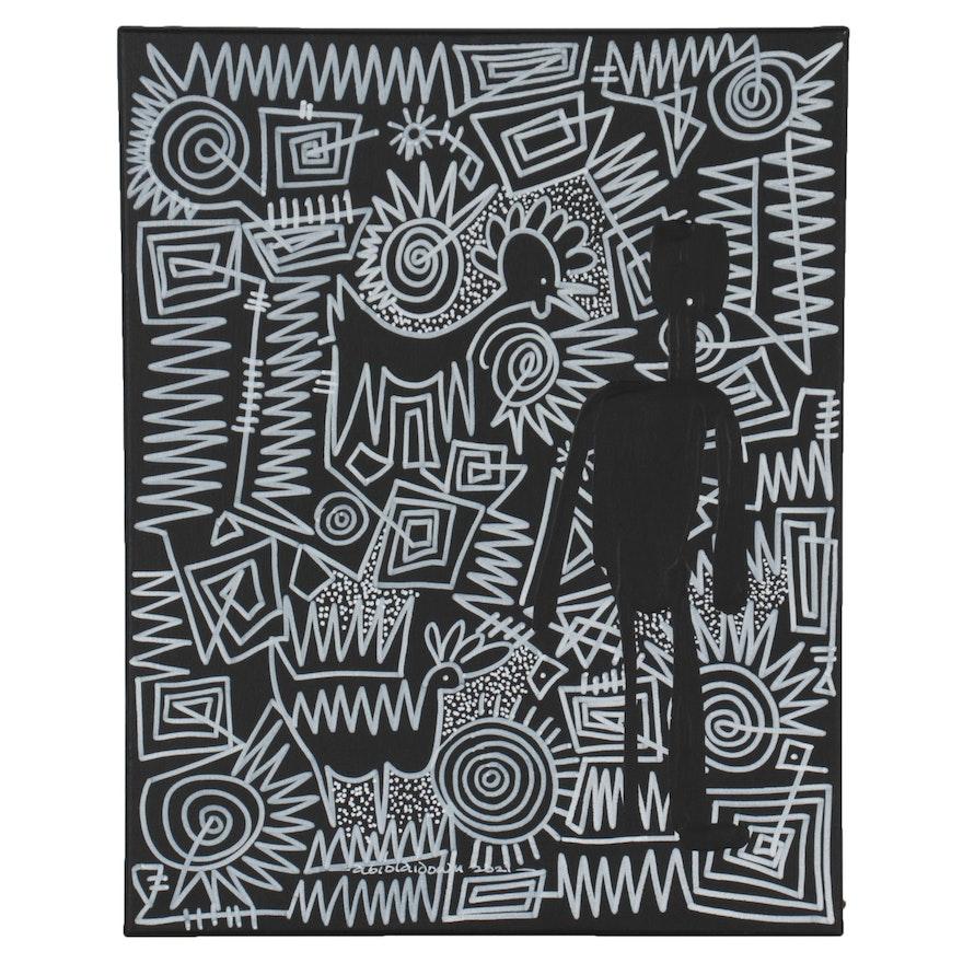 """Abiloa Idowu Abstract Mixed Media Painting """"Treasure I,"""" 2021"""