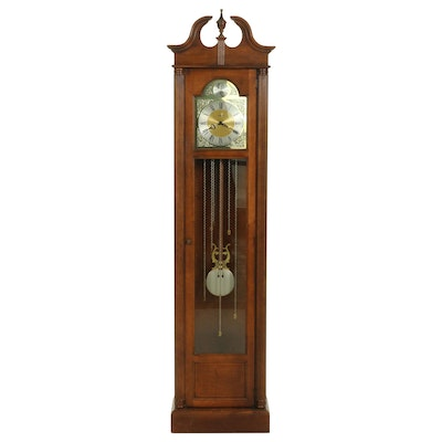 Howard Miller Federal Style Walnut Grandfather Clock, Late 20th Century