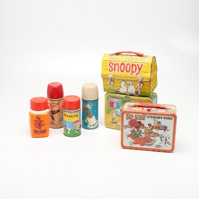 Thermos Snoopy, Fat Albert-Cosby Kids, and MLB Lunchboxes with Thermoses