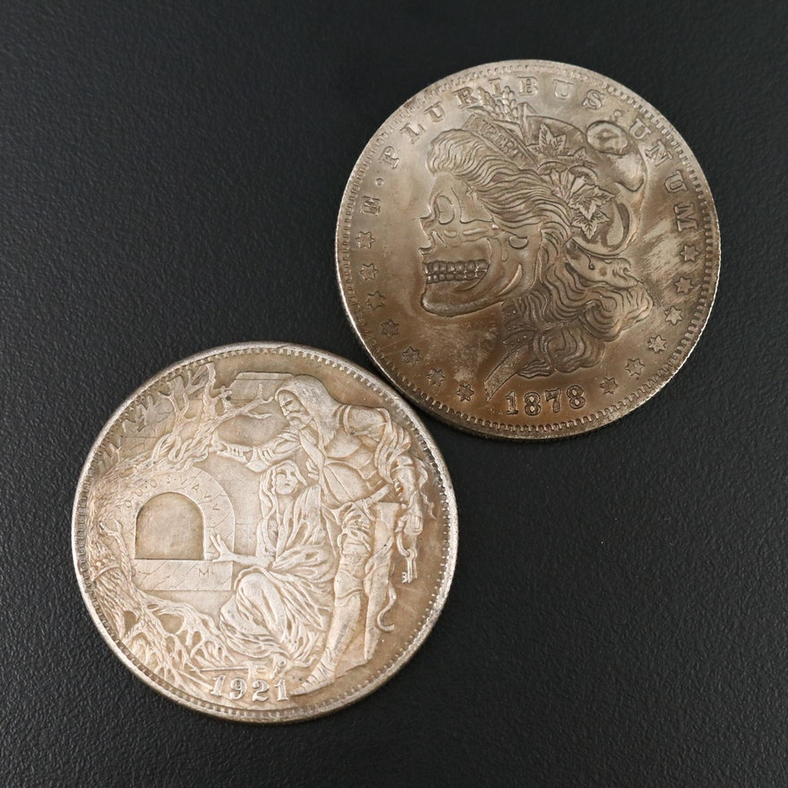 Two Hobo-Style Fantasy Morgan Dollars