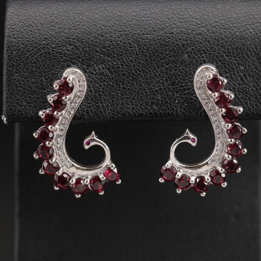 Sterling Garnet and Cubic Zirconia Peacock Earrings