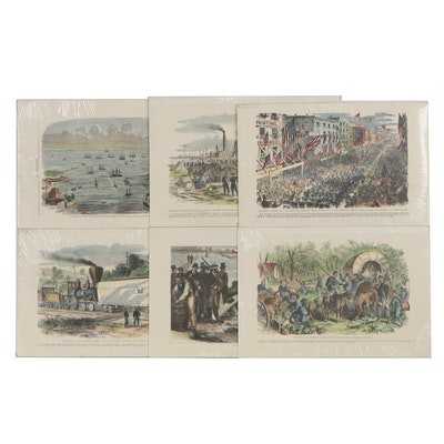 """Hand-Colored Lithographs from """"Leslie's Weekly"""" and """"Harper's Weekly"""""""