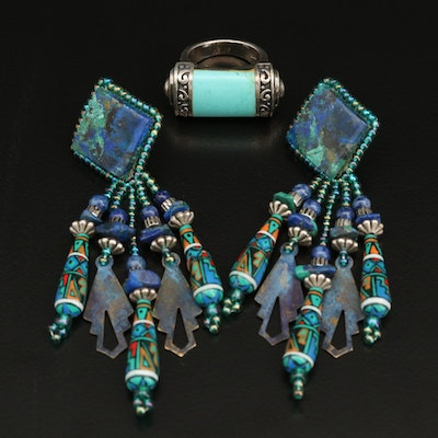 Sterling Imitation Turqoise Ring with Azurmalachite Chandelier Earrings