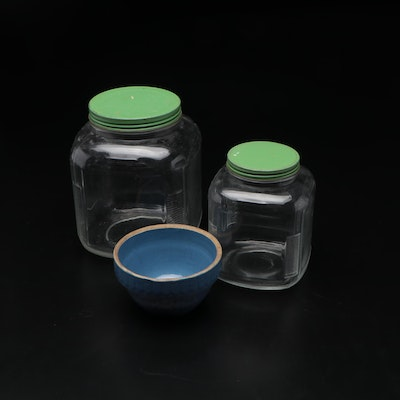 Glass Sugar and Flour Jars with Stoneware Mixing Bowl, Early to Mid 20th Century