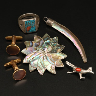 Abalone and Southwestern Ring Featured with Other Sterling Jewelry and Cufflinks