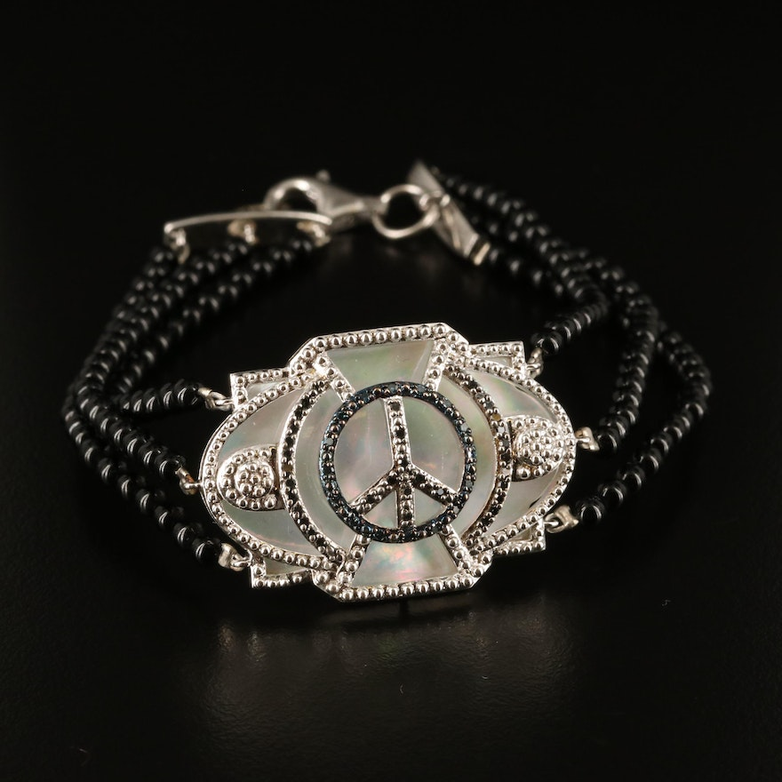 Sterling Peace Symbol Pendant with Black Onyx, Mother of Pearl and Diamond