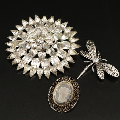 Brooches Featuring Rhinestone Butterfly and Wirework Cameo Brooch
