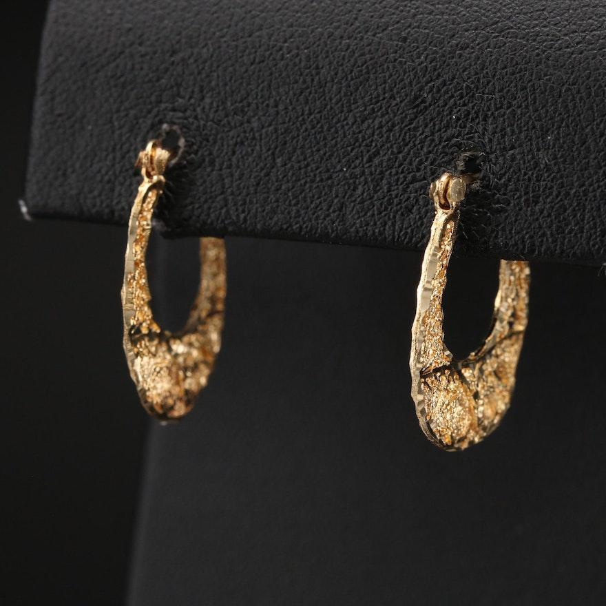 14K Filigree Hoop Earrings