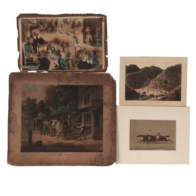 Antique Figurative and Equine Etchings with Aquatint and More