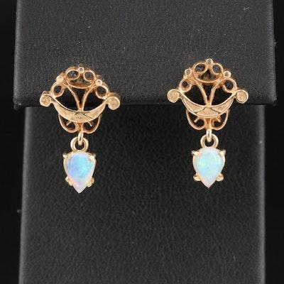 14K Opal Drop Earrings