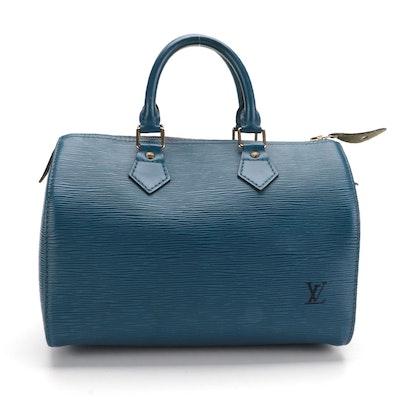 Louis Vuitton Speedy 25 Handbag in Toledo Blue Epi Leather