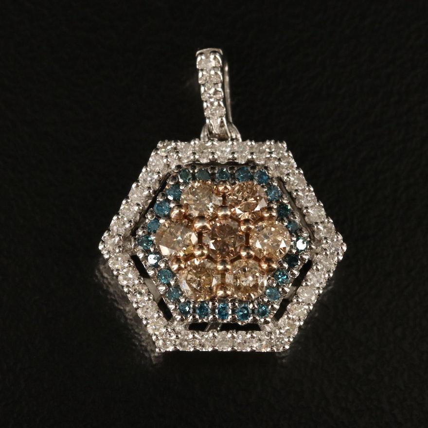 Sterling Diamond Hexagon Pendant