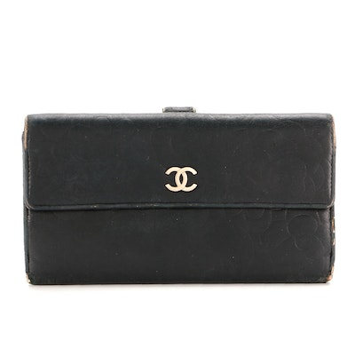 Chanel Camellia Continental Wallet in Black Lambskin Leather