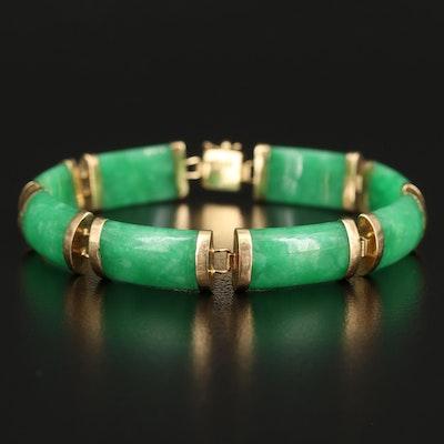 Chinese 14K Jadeite Curved Bar Bracelet