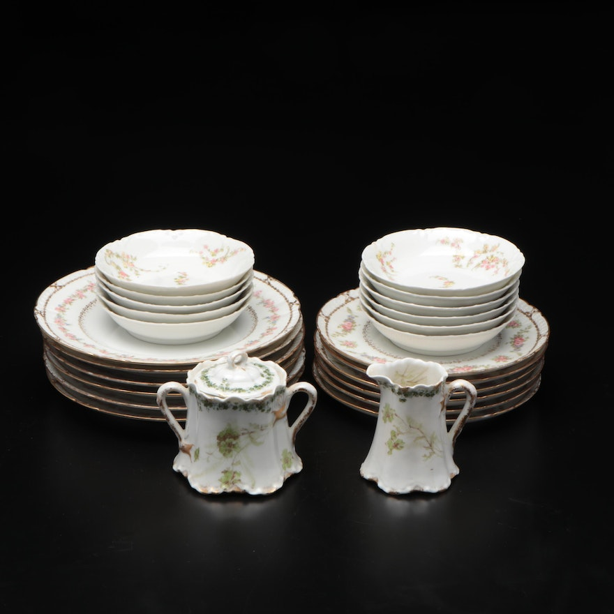 """Haviland & Co. """"Norma"""" Porcelain Dinnerware with Sugar and Creamer"""
