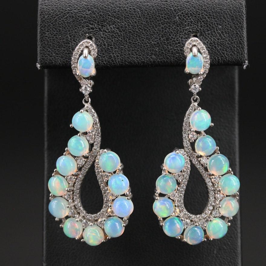 Sterling Opal and Cubic Zirconia Teardrop Earrings