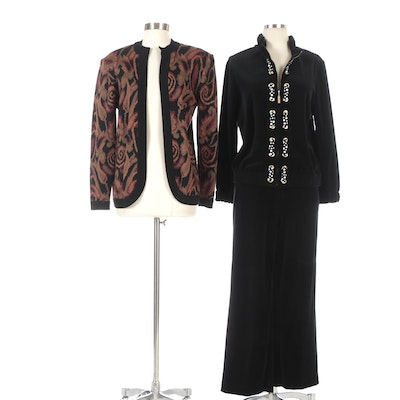 St. John Ruffled Velour Suit with Polka Dot Ribbon and Multicolor Knit Cardigan