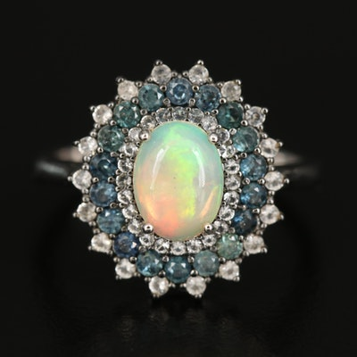 Sterling Opal, Sapphire and Topaz Ring