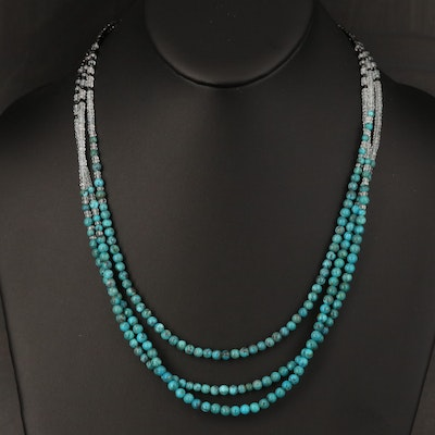 Turquoise, Rock Quartz Crystal and Spinel Triple Strand Necklace