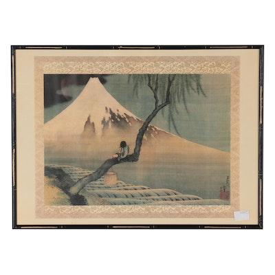 "Offset Lithograph after Katsushika Hokusai ""Boy on Mount Fuji"""