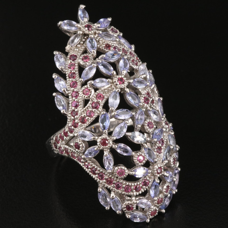 Sterling Tanzanite and Garnet Floral Pointer Ring