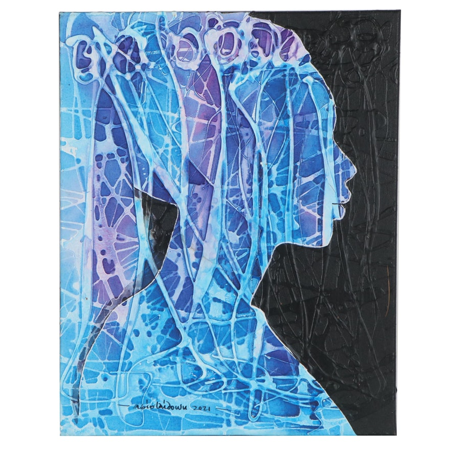 """Abiola Idowu Mixed Media Painting of Silhouette """"Beyond Blues,"""" 2021"""