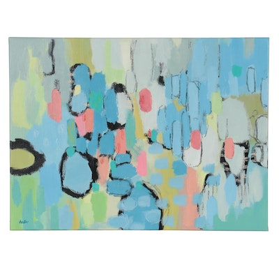 Lee Hafer Non-Objective Abstract Acrylic Painting, 21st Century