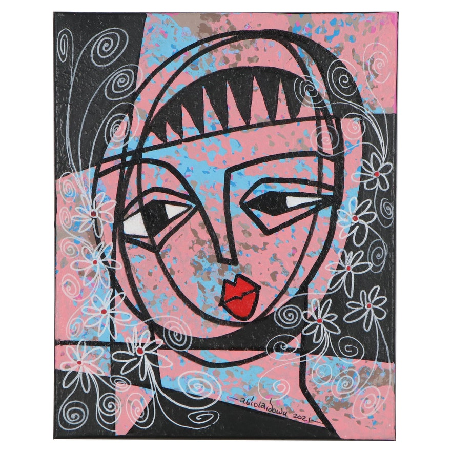 "Abiola Idowu Mixed Media Painting ""Beauty,"" 2021"