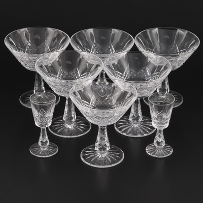 """Waterford Crystal """"Kenmare"""" Champagne Coupes and Cordial Glasses"""