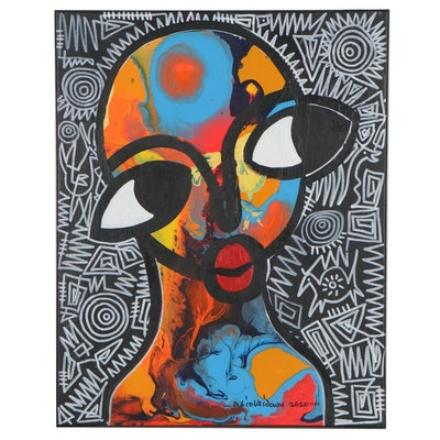 """Abiola Idowu Abstract Portrait Mixed Media Painting """"Don't Give Up,"""" 2021"""