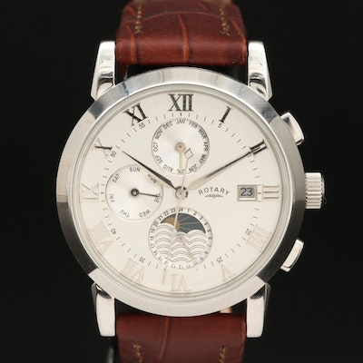 Rotary Triple Calendar Stainless Steel Automatic Wristwatch