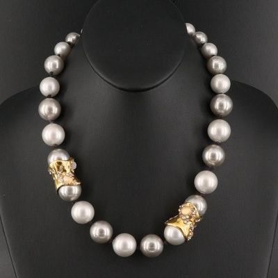 Alexis Bittar Faux Pearl Necklace with Glass Accents