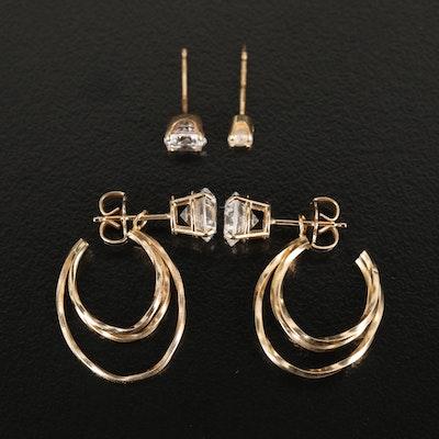 14K Cubic Zirconia Stud Earrings with Enhancers and Single Stud Earrings